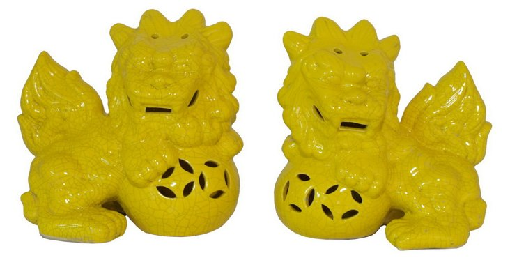 Pair of Ceramic Foo Dogs, Yellow