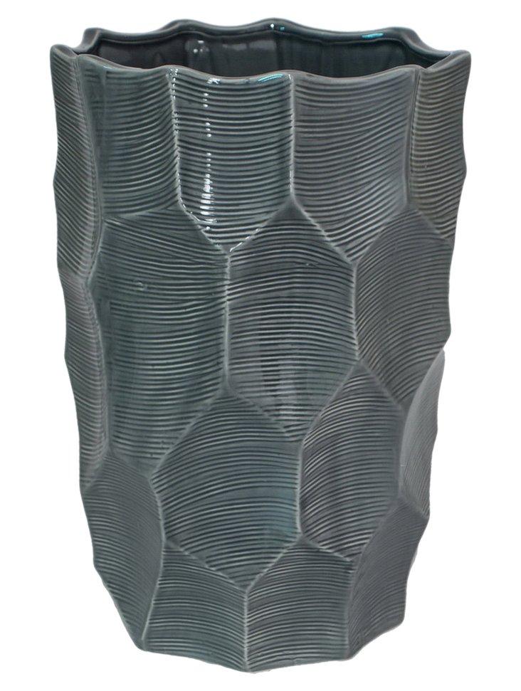 """15.5"""" Ceramic Texture Vase, Green"""