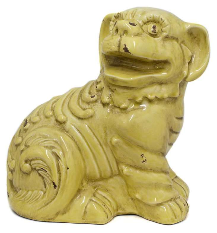 "11"" Foo Dog Figurine, Yellow"