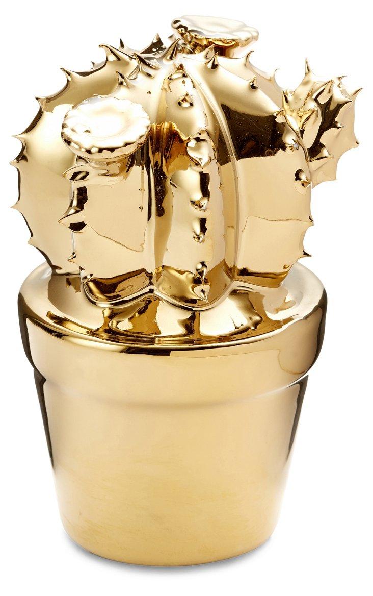 """Pair of 3"""" Ceramic Cactus Objets, Gold"""