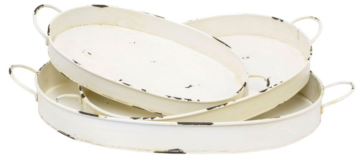 Asst. of 3 Distressed Trays,  White