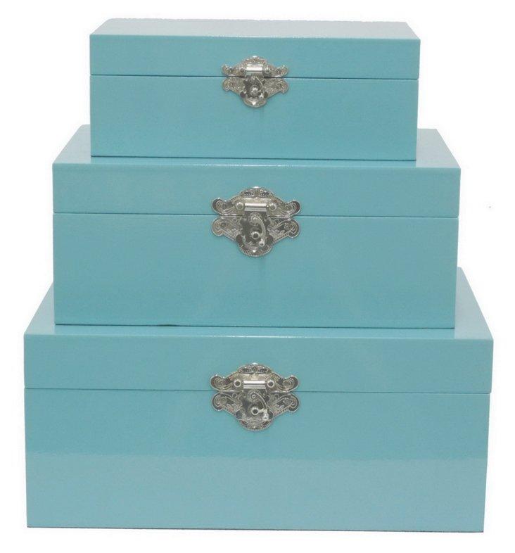 Asst. of 3 Wood Boxes, Blue
