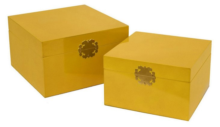 Asst. of 2 Royal Wood Boxes, Yellow