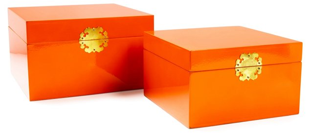 Asst. of 2 Royal Wood Boxes, Orange