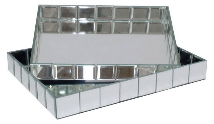 Asst. of 2 Mirrored Trays, Silver