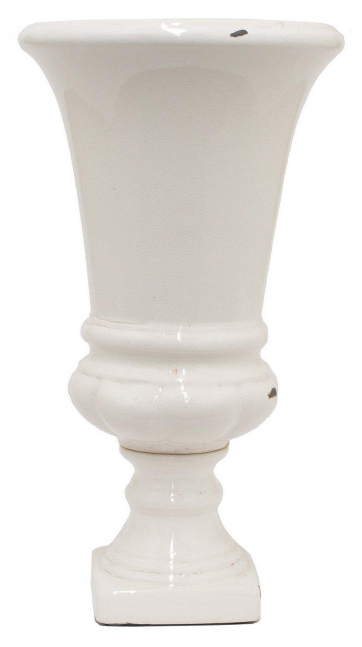 """14"""" Greek Vase, White"""