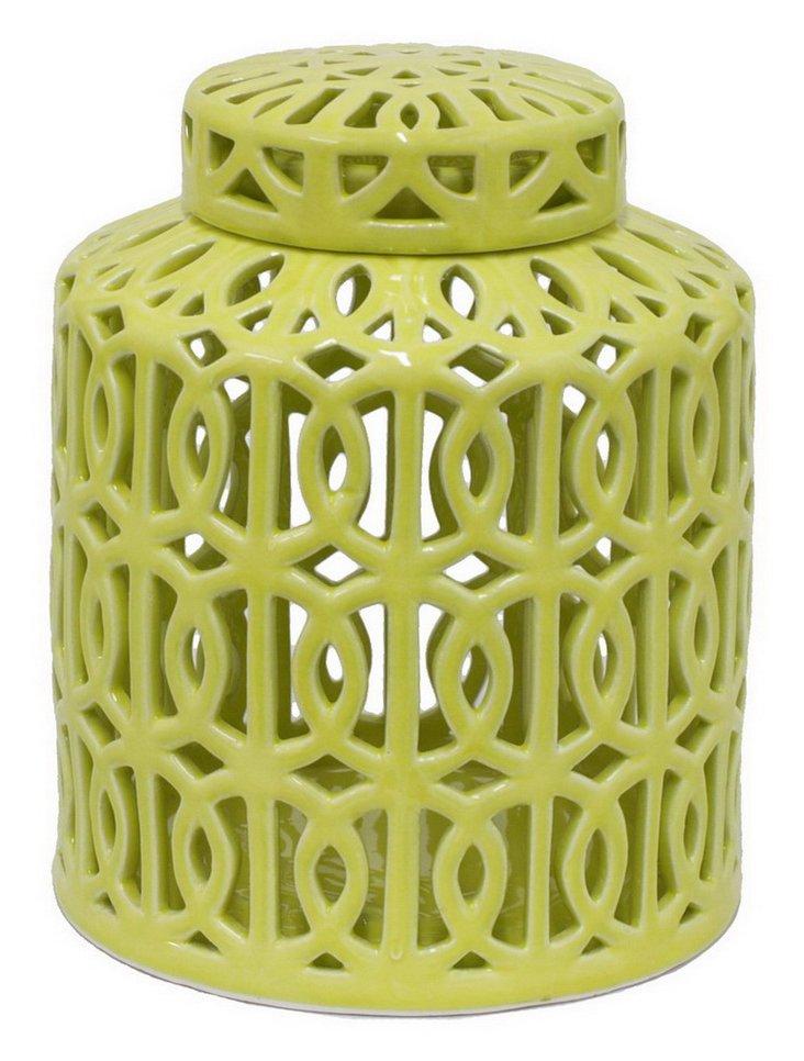 "10"" Ceramic Jar, Green"