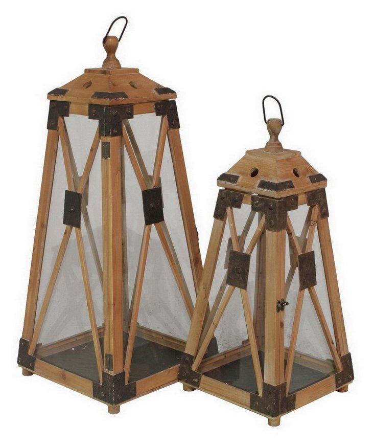 Asst. of 2 Rustic Lanterns, Brown