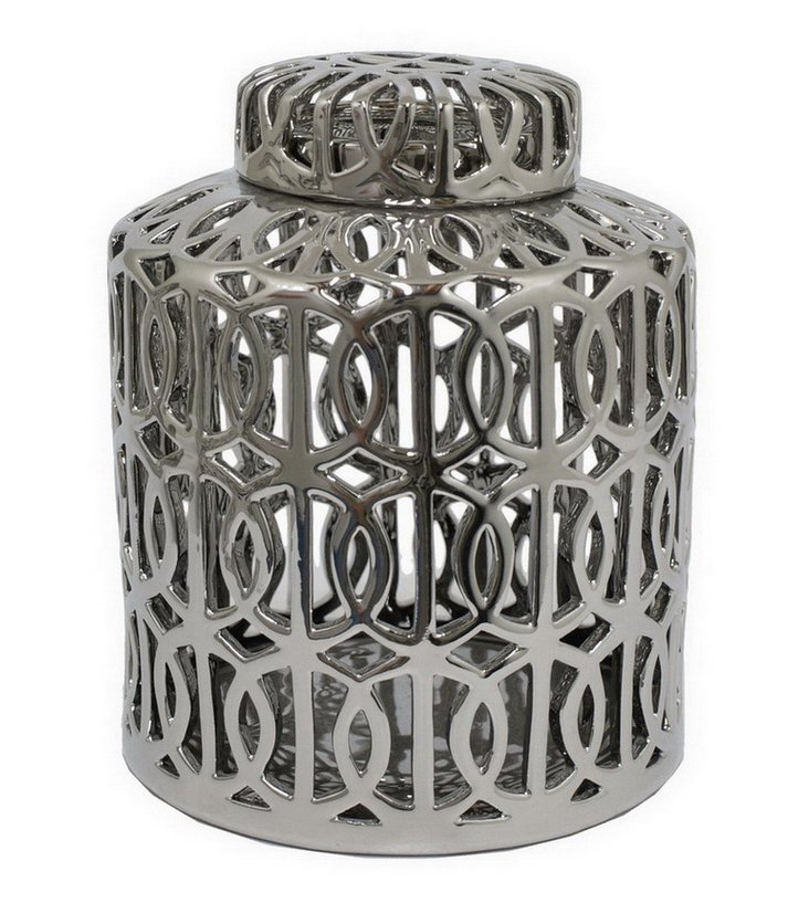 "8"" Round Chain Loop Jar, Silver"