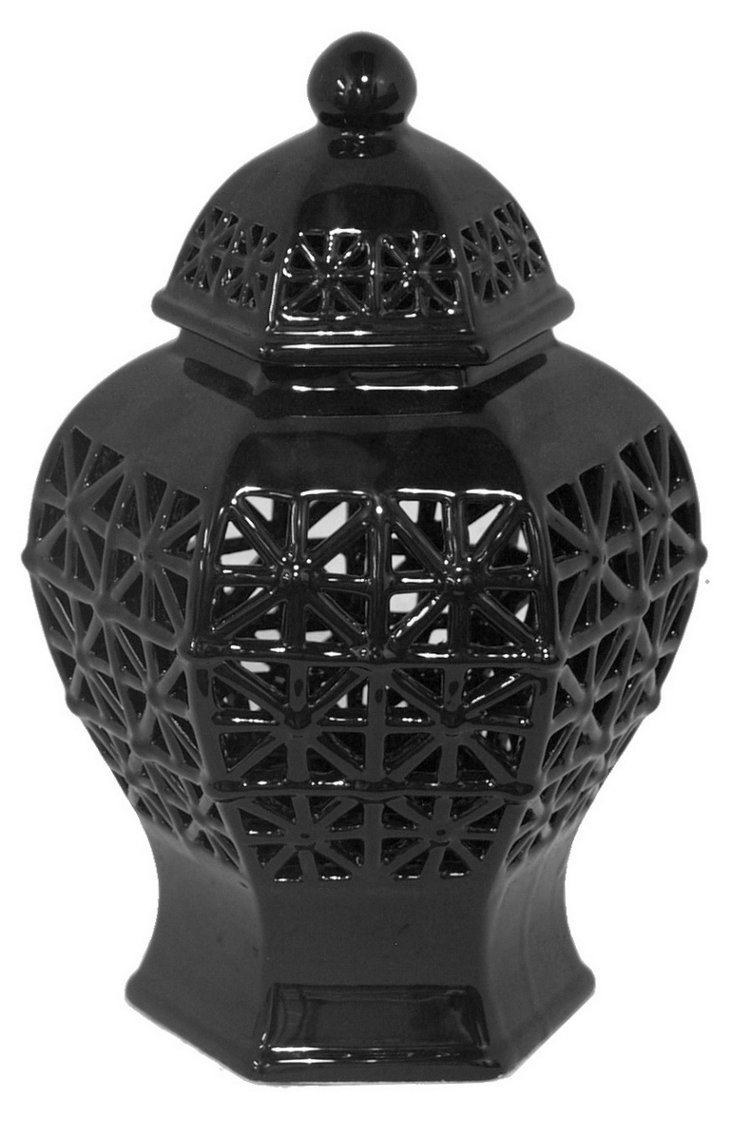 "12"" Temple Jar, Black"