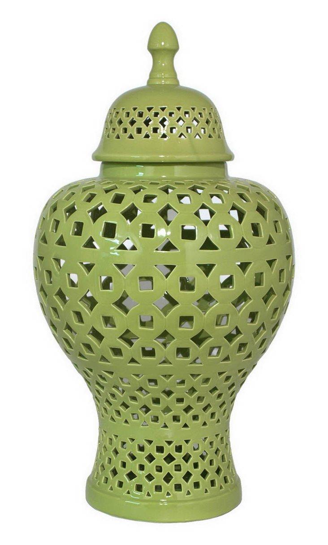 "28"" Pierced Jar, Green"