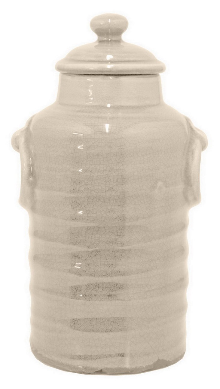 Ceramic Tall Ribbed Canister