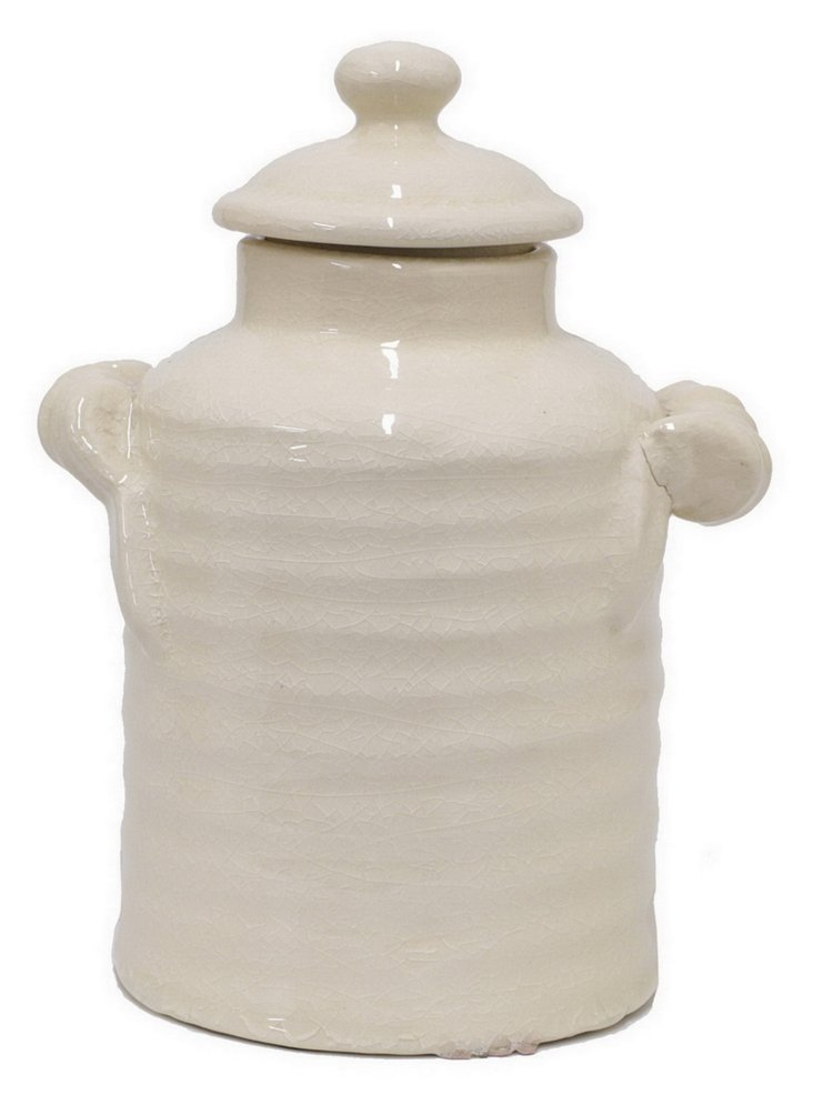 10 Ribbed Canister With Handles, White