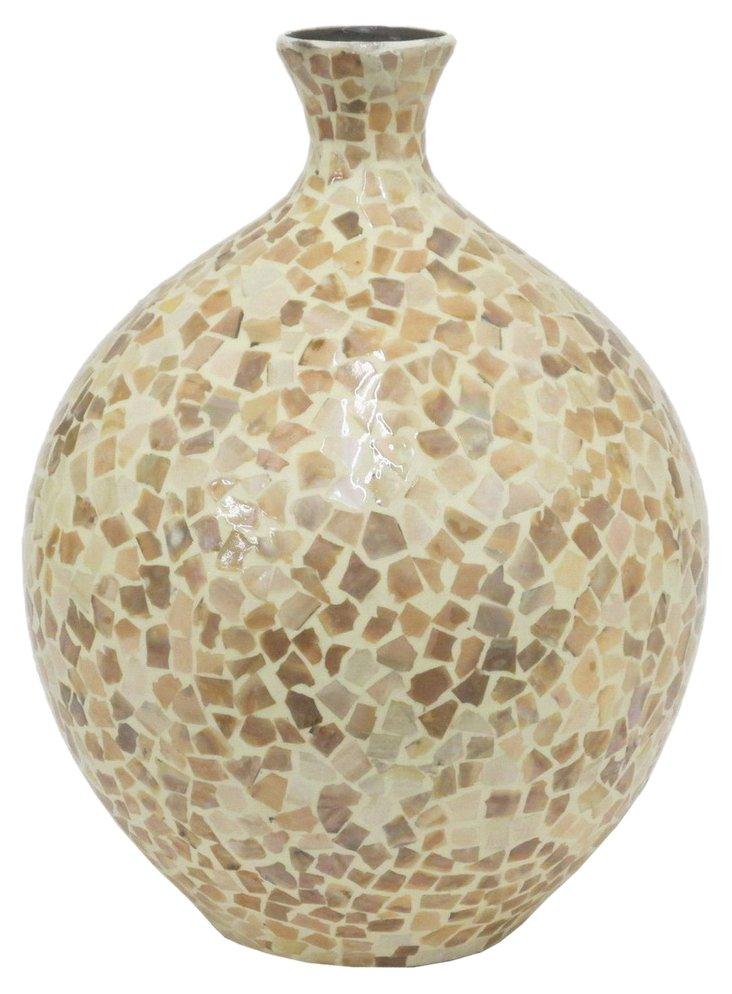 """13"""" Ceramic Vase, Cream"""
