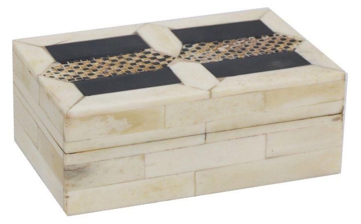 "5"" Decorative Box, White/Black"