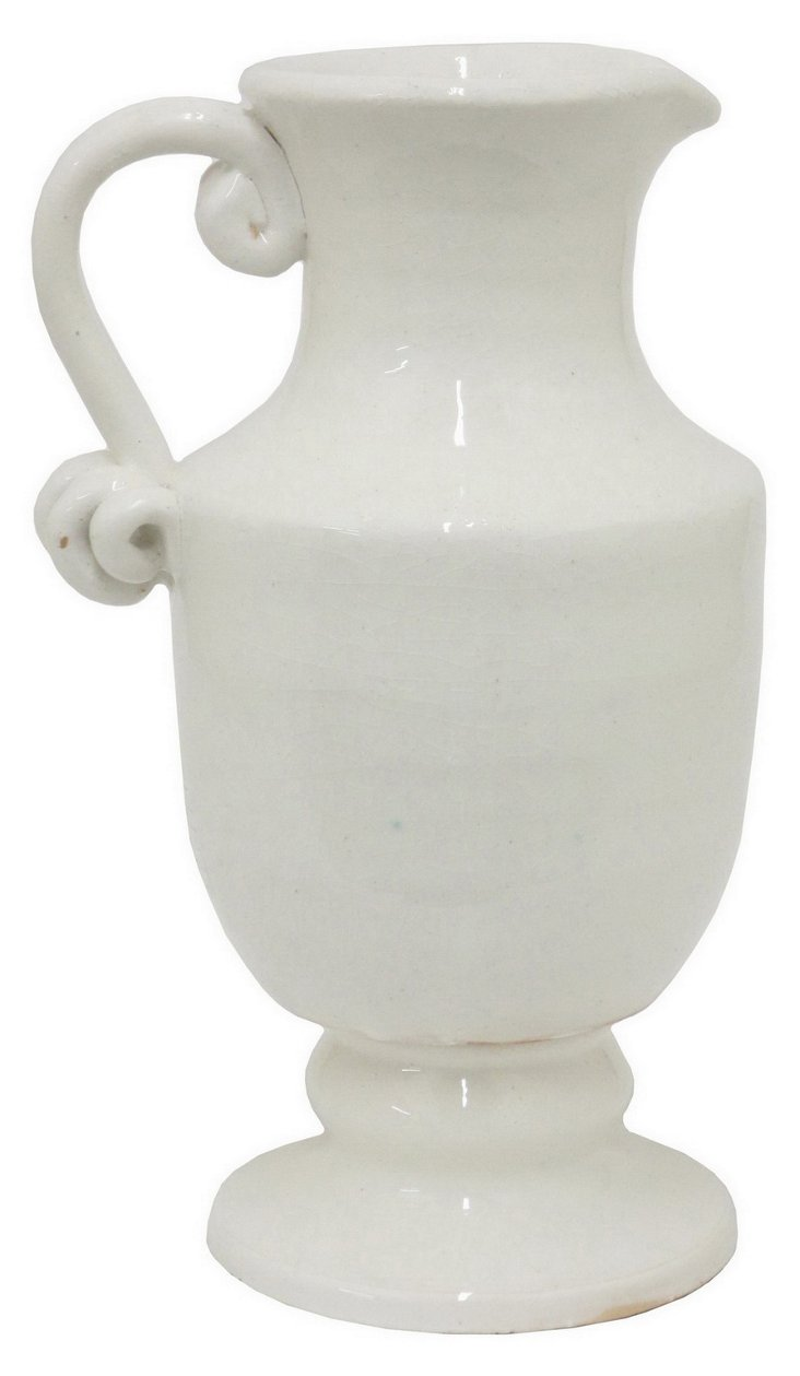 "16"" Ceramic Jug Vase, White"