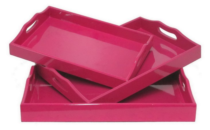 Asst. of 3 Wood Trays, Pink