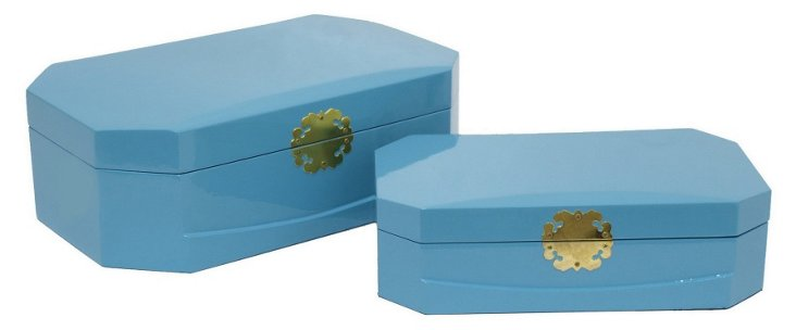Asst. of 2 Royal Wood Boxes, Sky Blue
