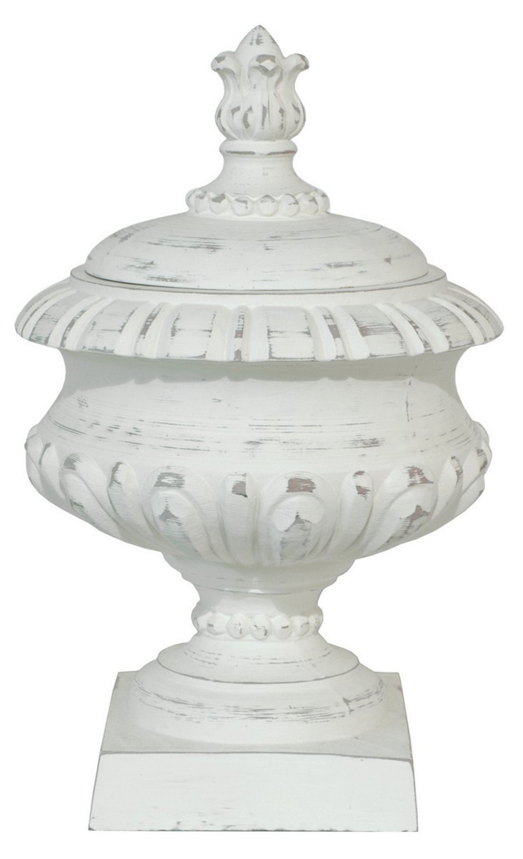 "19"" White Footed Urn"