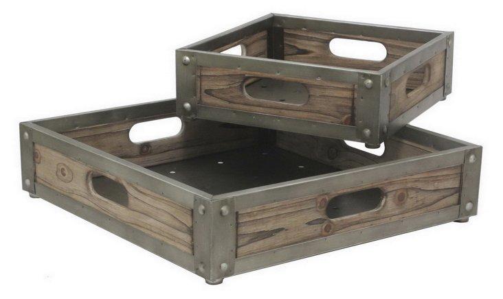 Asst. of 2 Metal & Wood Trays, Brown