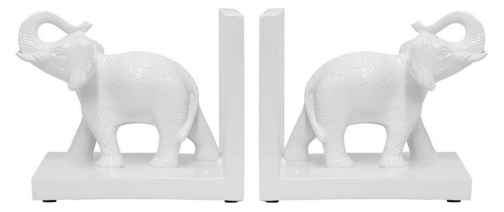 Elephant Bookends Set, White