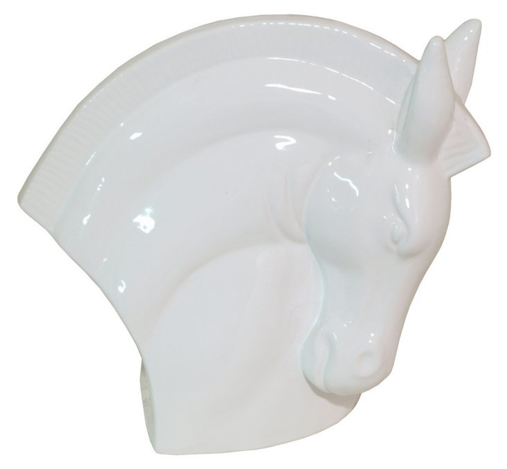 "13"" Ceramic Equine Head Objet, White"