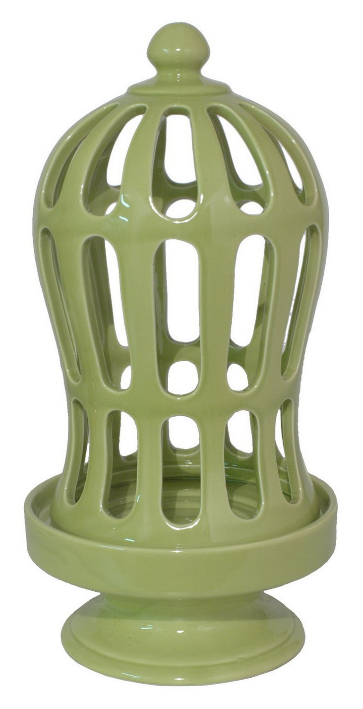 """16"""" Green Cage Candleholder"""