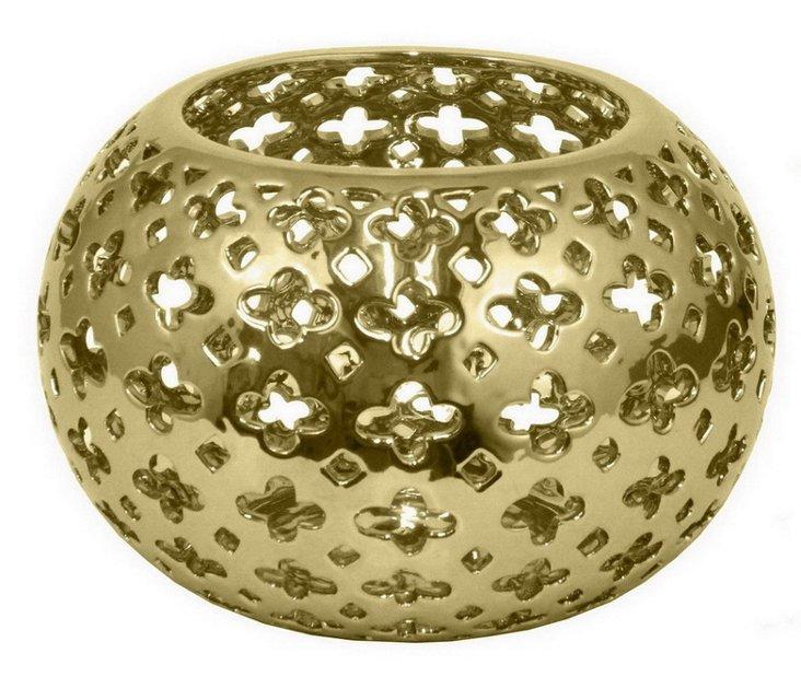 "7"" Pierced Ceramic Bowl, Gold"