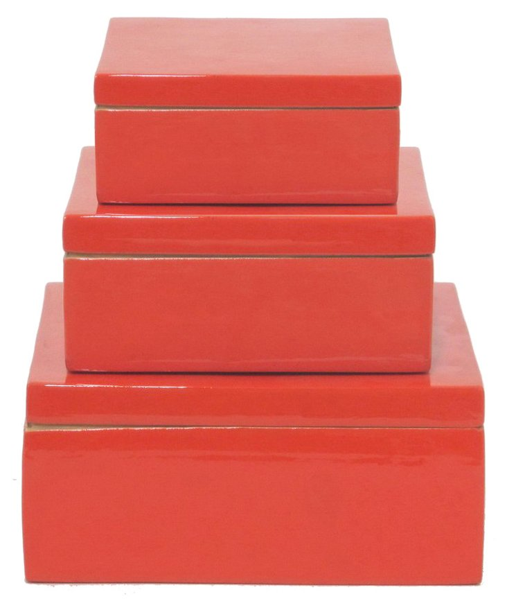 Asst. of 3 Bamboo Boxes, Orange
