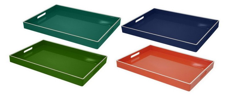 Asst. of 4 Colorful Metal Trays