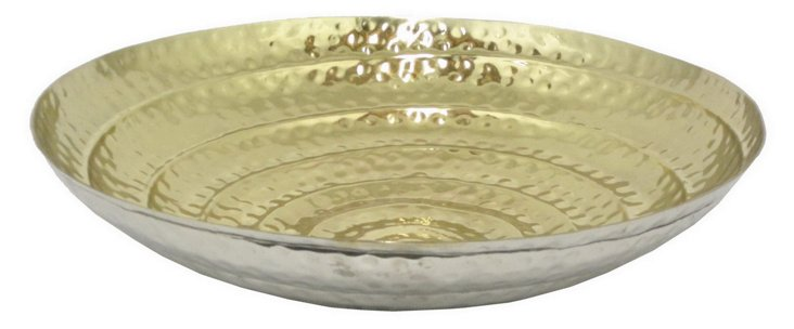 "21"" Hammered Dish, Silver/Gold"