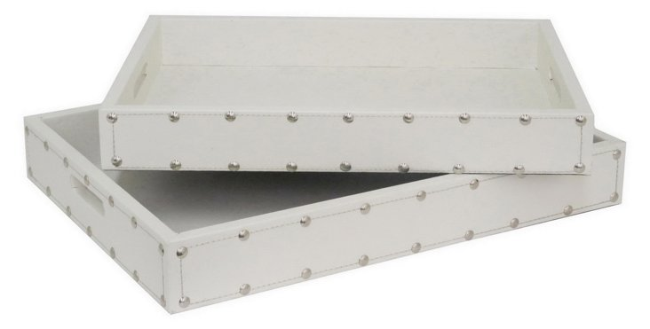 Asst. of 2 Wood Trays, White