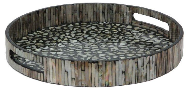 "14"" Shell Mosaic Tray, Tan"