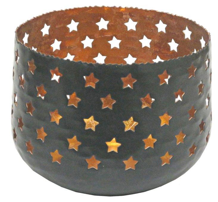 "8"" Candleholder, Black/Bronze"