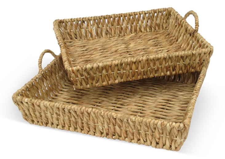 Asst. of 2 Basket Trays, Brown