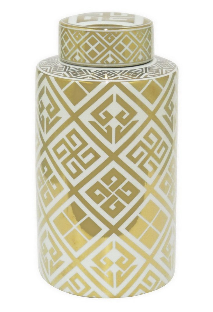 """18"""" Round Jar with Lid,  Gold/White"""