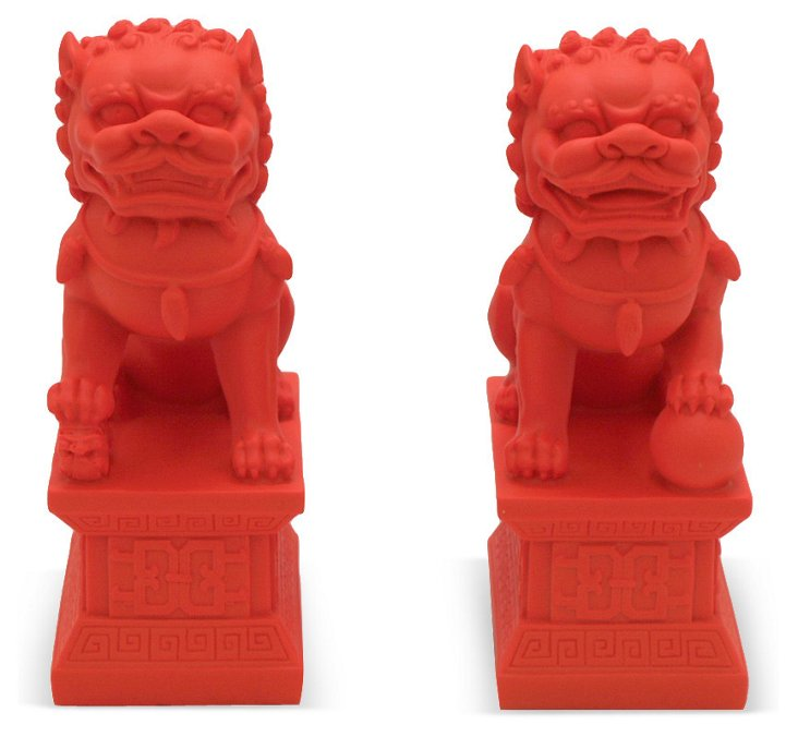 Pair of Foo Dogs, Red