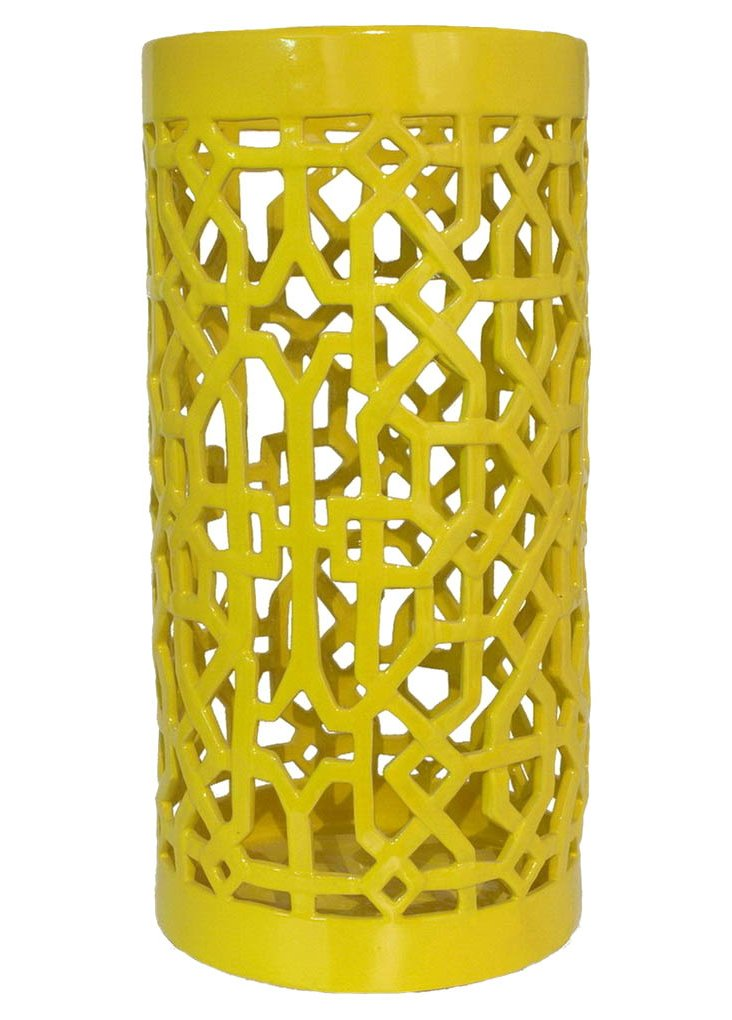 "23"" Ceramic Umbrella Stand, Yellow"