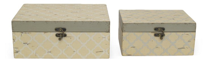 Asst. of 2 Wood Boxes, Cream