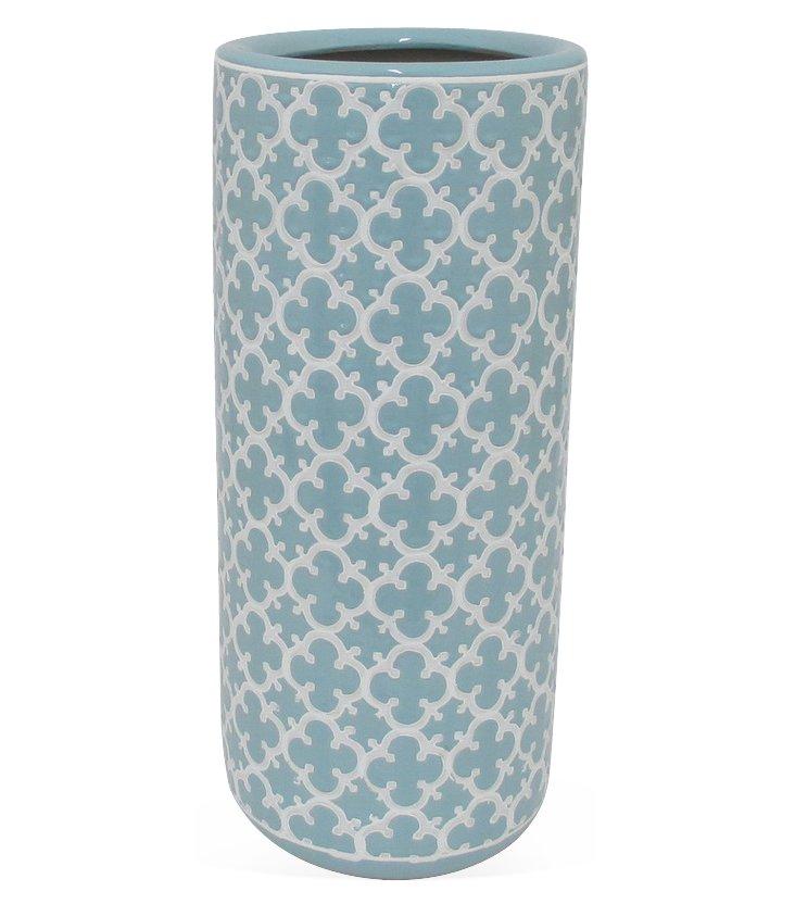 """Ceramic Umbrella Stand, 18"""" Blue"""