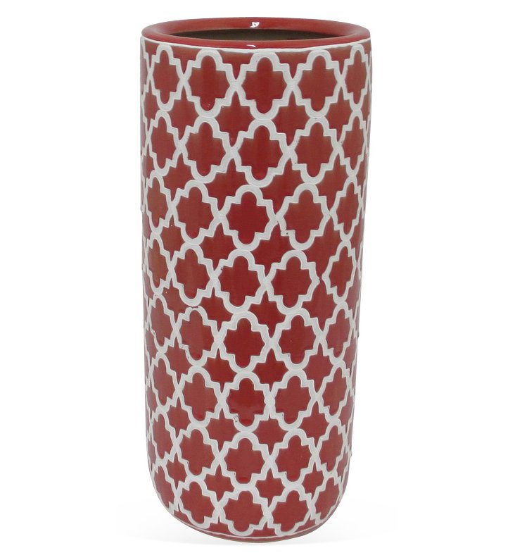 "18"" Ceramic Umbrella Stand, Red"