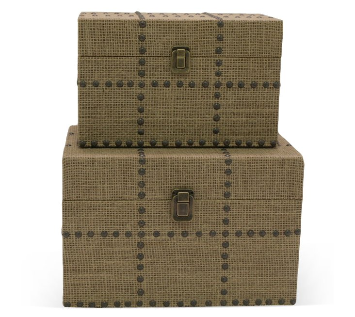 Asst. of 2 Burlap Studded Boxes, Brown