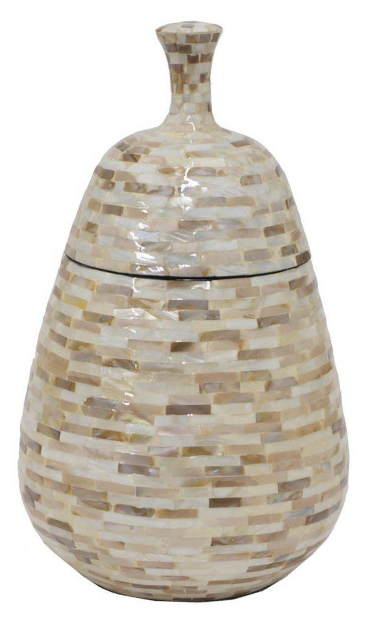 "14"" Pear-Shaped Jar with Lid, Tan"