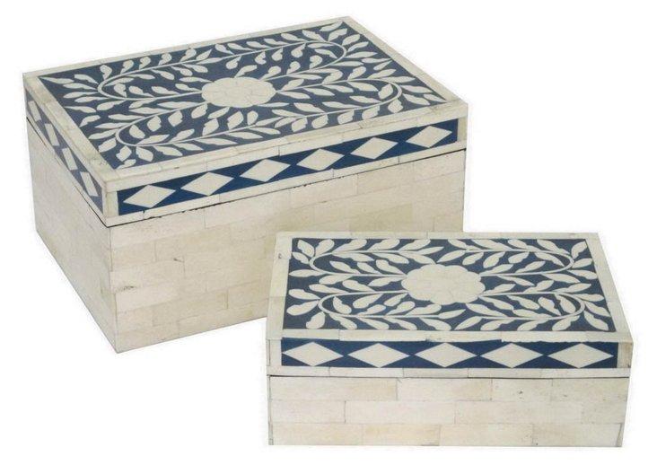 Asst. of 2 Decorative Bone Boxes, Blue