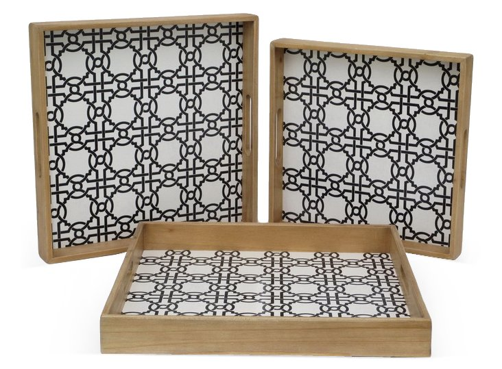 Asst. of 3 Wood Lattice Trays