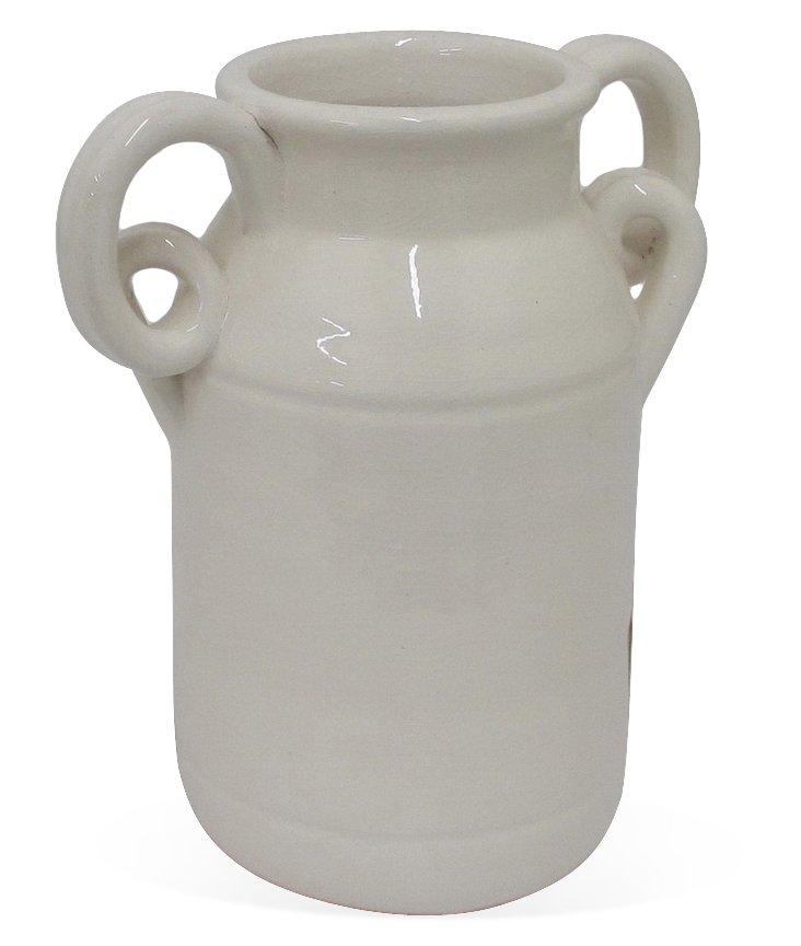 "11"" Ceramic Vase, White"