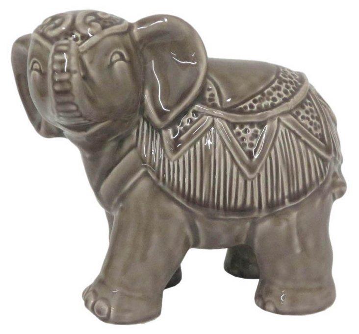 "6"" Ceramic Elephant, Gray"