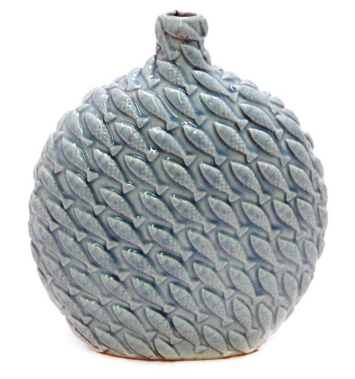 """10"""" Ceramic Vase, Blue"""
