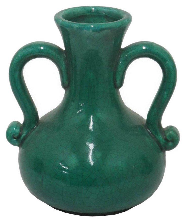"""10"""" Terracotta Vase, Green"""