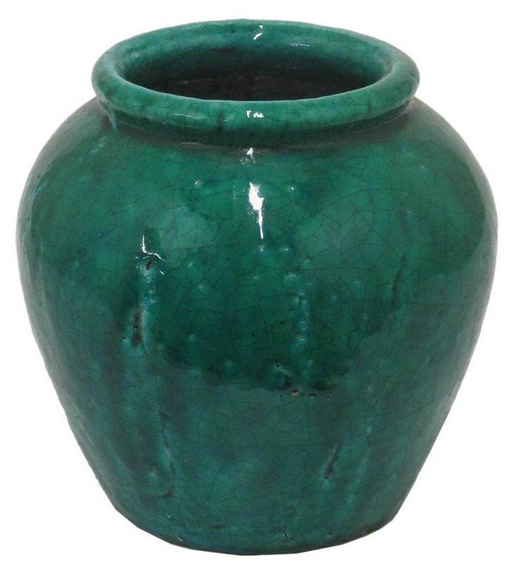 "10"" Terracotta Urn, Green"